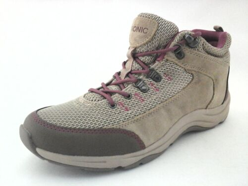 VIONIC Hiking Shoes Cypress Beige Brown//Mauve Leather H2O Resistant Women/'s $130