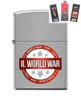 Zippo 200 World War Ii 1939-1945 Lighter + Fuel Flint & Wick Gift Set