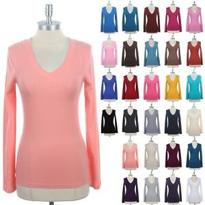 Women's Casual Solid Plain Cotton V Neck Long Sleeve Tee Shirt Top ...