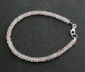 Rosenquarz Armband edelsteinarmband Rosa Natur Geschenk Schmuck 925 Silber 19 cm