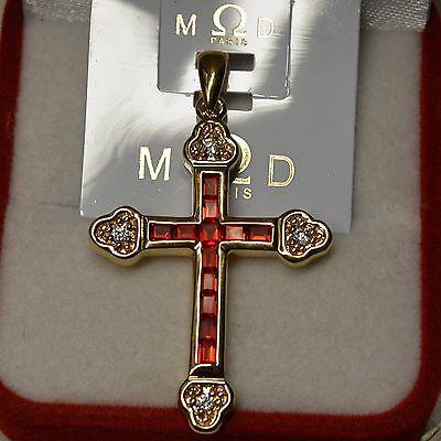 Pendentif Croix Sertie de Diamant  Cz de 23mm Plaqué Or 18K Dolly-Bijoux