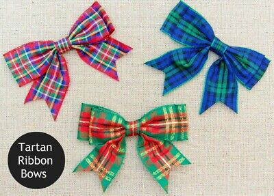 Scottish Tartan Blue Polyester Double Sided Ribbon 25mm Bows