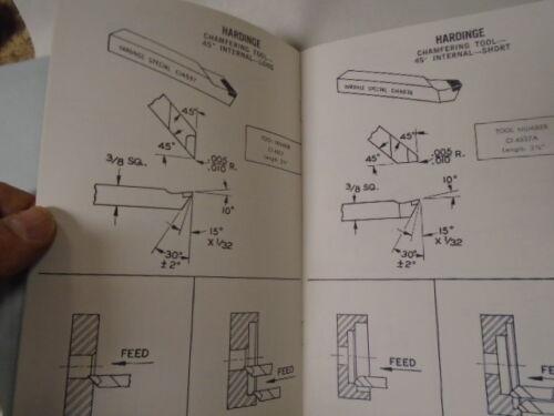 MACHINIST TOOLS LATHE MILL Hardinge Carbide Cutting Tools Manual Book