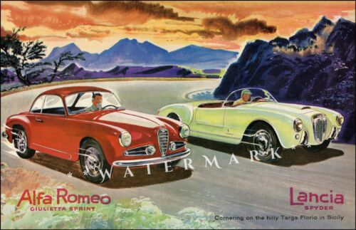 Alfa Romeo and Lancia Targa Sports Racing Vintage Poster Print Italian Car Races