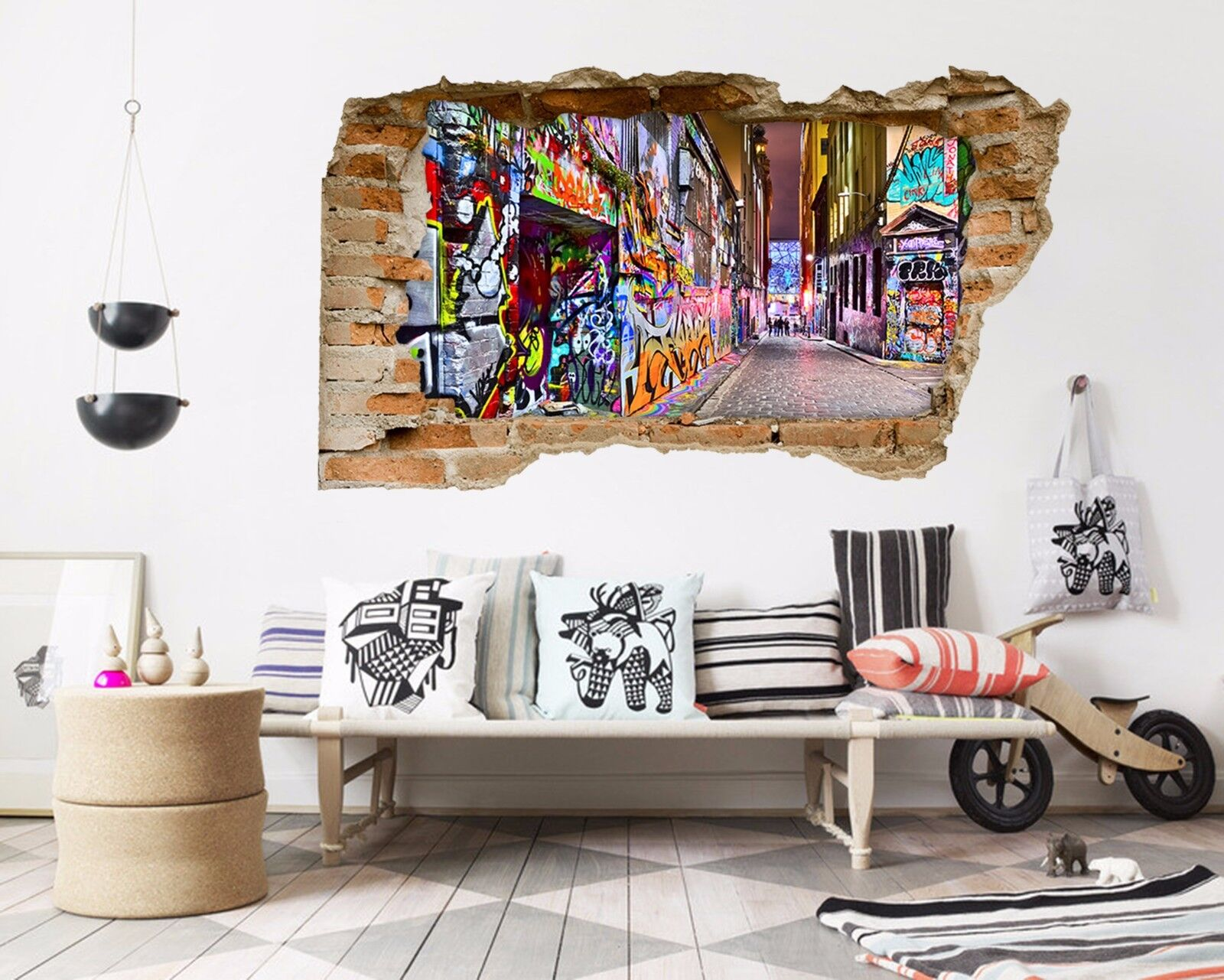 3D Graffiti Di Strada 2 Parete Murales Adesivi Decal Sfondamento AJ WALLPAPER IT