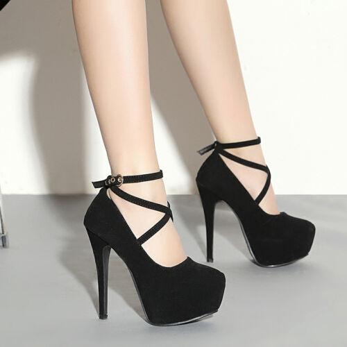 Details about  /Women Ankle Strape Pumps Thick Platform Suede High Heels Club Party Dress Shoes
