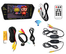 "7"" MP5 Bluetooth Car Rearview Mirror Monitor + Wireless 360 Degree Backup Camera"