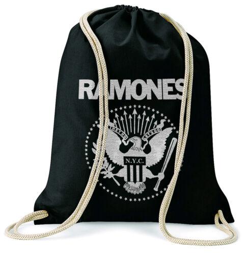 Ramones GYMSAC turn BUSTINA BACKPACK BLACK SPEDIZIONE GRATUITA