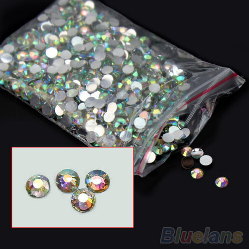 1000X Nail Excellent Art Flatback Rhinestone Faceted Resin Round Colorful Beads