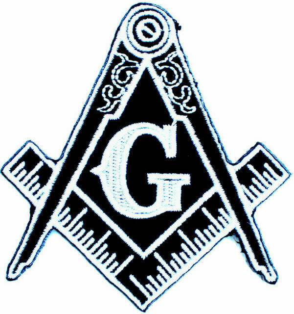 BLACK MASONIC SKULL LOGO EMBROIDERED PATCH FREEMASON SQUARE COMPASS MASON