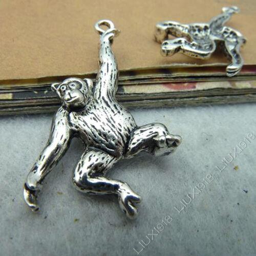 10pc Tibetan Silver Monkey Orangutan Animal Charms Pendant Jewellery Making B531