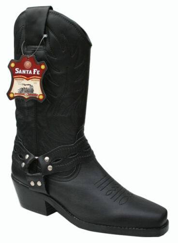 Cowboy western pour homme en cuir véritable noir haut bottes style Kansas ciseau toe