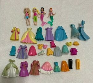 Polly Pocket Lot 4 Dolls 28 Clothing Items Ebay
