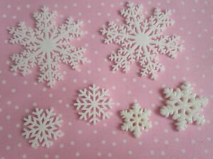 Resin-FlatBack-x6-Snowflake-Christmas-Cabochon-3D-Phone-Decoden-Kawaii-Craft