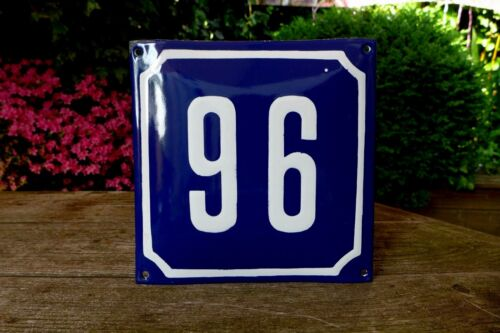 VINTAGE BLUE FRENCH ENAMEL METAL HOUSE FLAT COTTAGE NUMBER /'/'96/'/' SIGN PLAQUE