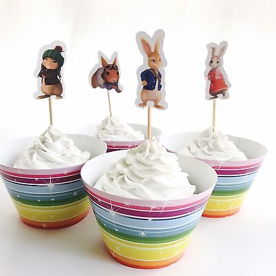 12x Easter Bunny Cupcake Toppers Wrappers Party Supplies Lolly Bag Rabbit