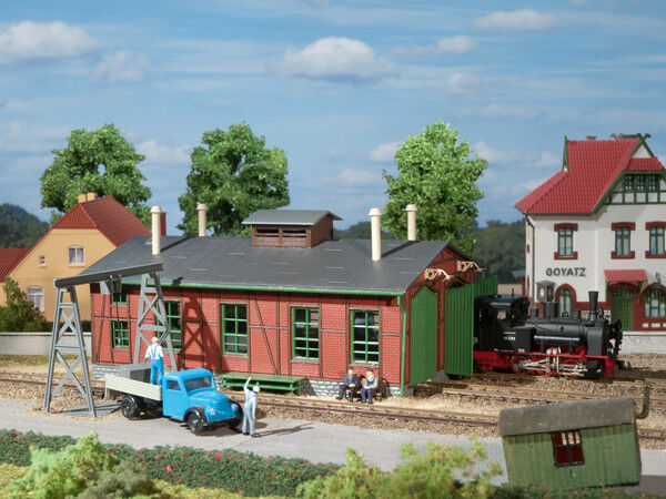 Auhagen kit 11355 NEW HO DOUBLE TRACK LOCOMOTIVE SHED WITH GANTRY CRANE FOR NAR