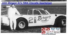 CD_922 #21 John Benson Sr. 1964 Chevelle Sportsman 1:64 scale decals ~OVERSTOCK~