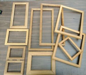 Vintage Wood Oak PICTURE FRAME Lot Arts Crafts Project Deco Gallery Wall Wedding