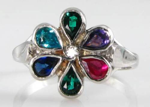 CLASS ENGLISH 9K WHITE gold MULTI GEM  DEAREST  RING, FREE RESIZE 6-8.5 US CAN