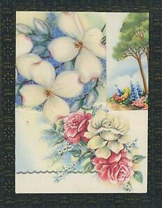 VINTAGE-ECLECTIC-ROSES-FLOWERS-BOTANICAL-COLLAGE-ABSTRACT-ON-ANTIQUE-OLD-PAPER
