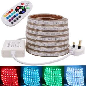 Waterproof 5050 LED Strip AC 220V 240V 60leds//m Commercial Rope Light RGB white
