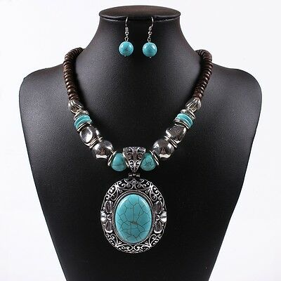 Chunky Turquoise Blue Pendant Wood Beaded Chain Necklace Tibet Necklace Earrings
