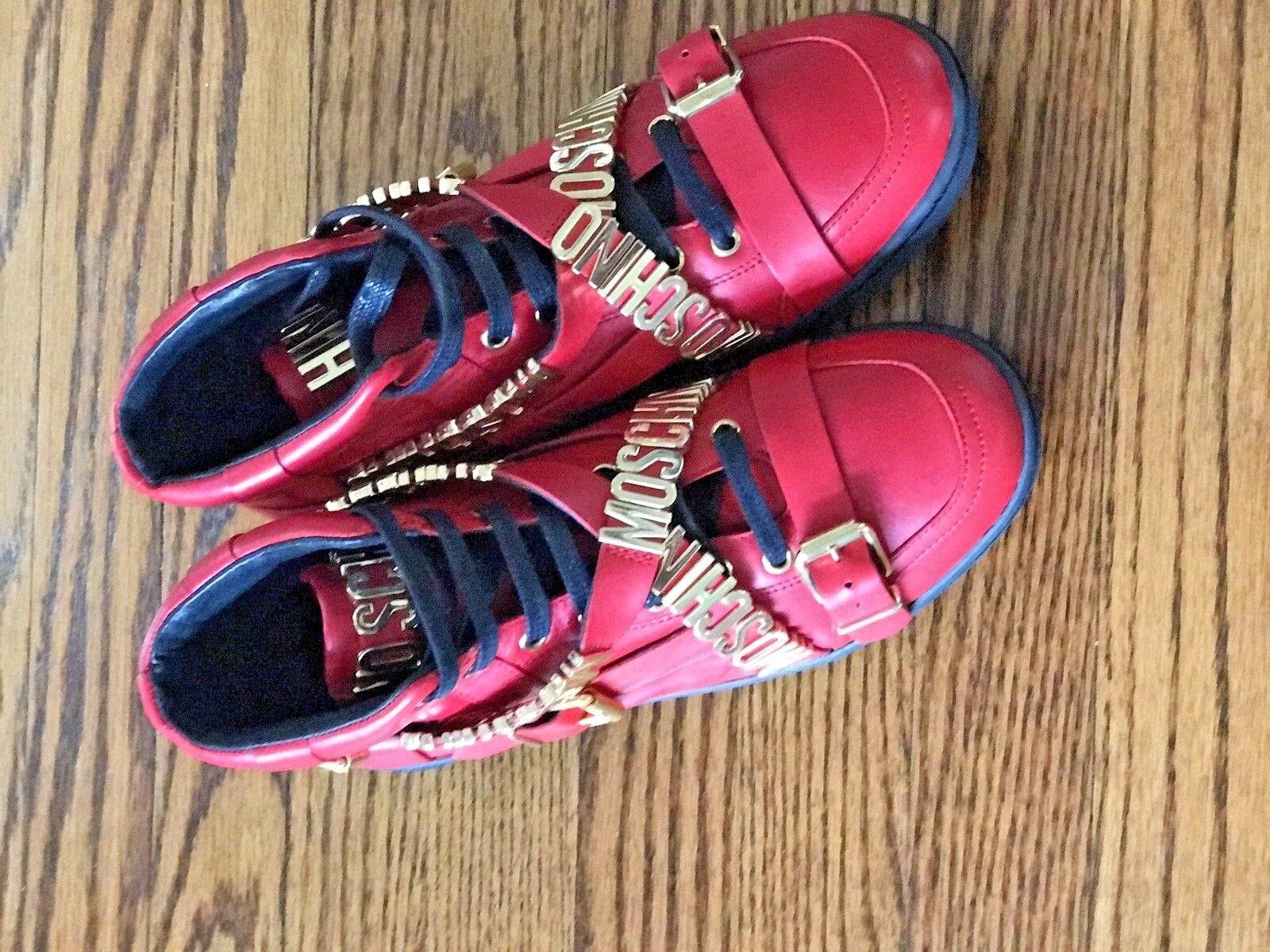 Scarpe casual da uomo  Moschino Red Strap Logo High-Top Leather Sneakers 9.5 NWT