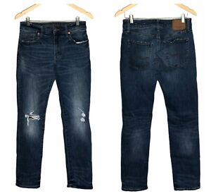 American Eagle Next Level Flex Men's 32 x 31 Slim Straight Jeans Dark Distressed