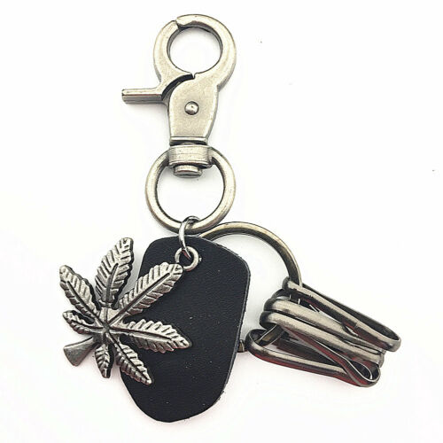 New Men/'s Pewter Marijuana Weed Leaf Leather Belt Loop Keychain Key Ring
