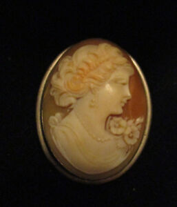 Antique-Victorian-Carved-Shell-Cameo-Lady-Portrait-14K-White-Gold-Brooch-Pendant