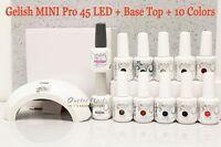Gelish Basic Starter Kit Mini Pro 45 Led Light Lamp+base Top Coat+10 Color 15 Ml