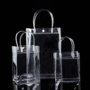 Clear Bag Tote Shopper Handles Transparent Purse Shoulder Handbag Beach Makeup