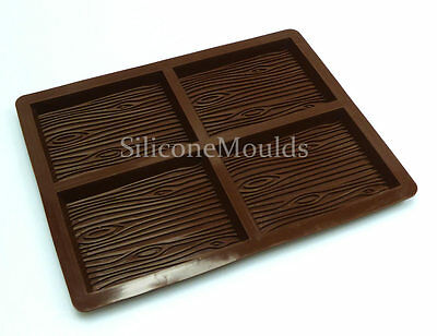 4 cell WOOD BARK Chocolate Bar Chocolatier Professional Silicone Artisan Mould