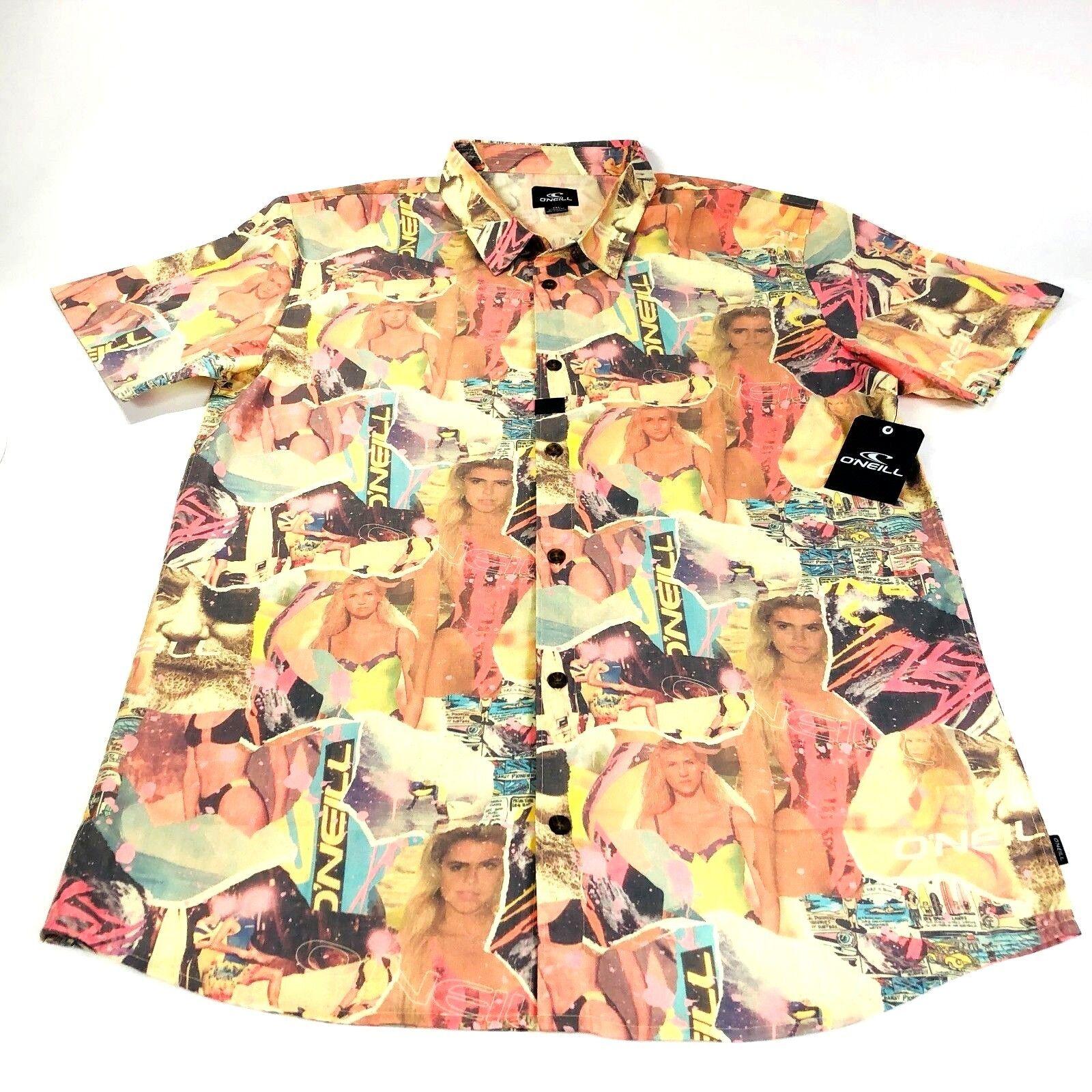 O'neill Mens Surfer Babewatch Short Sleeve Button Up Shirt Modern Fit NWT