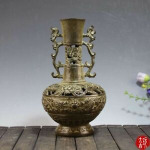 Chinese-Antique-Brass-gold-plated-hollow-double-dragon-vase-Home-decorations-SL