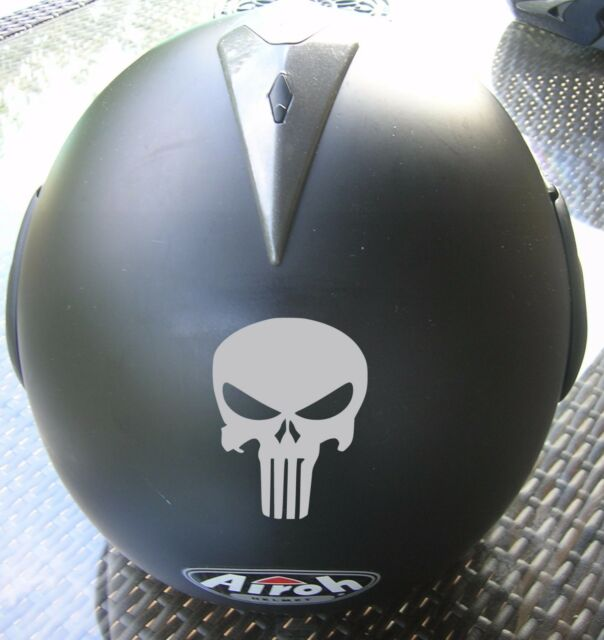 2 Decal Sticker Skull Helmet Punisher Scooter Motorcycle Bicycle Quad