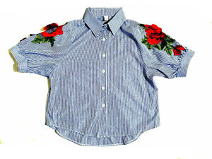 Striped Top with rose patch