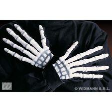 Skeleton Fancy Dress Costume Gloves Skull Halloween With Bone Effect