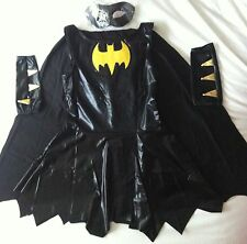 ADULT LADIES WOMAN'S BLACK BAT GIRL ROBIN  FANCY DRESS COSTUME SIZE 8 10 12