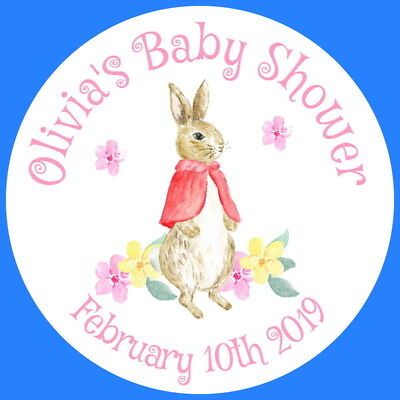 PERSONALISED GLOSSY CHRISTENING BABY SHOWER FLOPSY RABBIT PARTY STICKERS