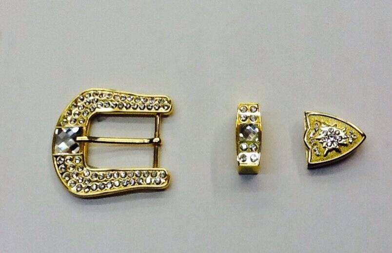 3 Piece Set 24k Gold Tone Handmade Clear Crystal Studs Fancy Belt Buckle