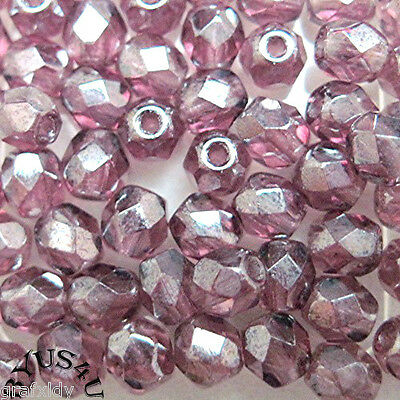 CZECH PRECIOSA  GLASS BEADS ROUND FACETED 4mm AMETHYST PURPLE LUSTER 100pc