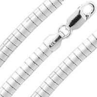2mm-8mm Omega Necklace/bracelet .925 Sterling Silver Domed Made In Italy