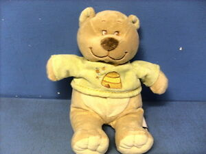JAV4/ DOUDOU BENGY  OURS MARRON CREME PULL VERT RUCHE ABEILLE JAUNE