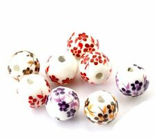 40 Ceramic Spacer Beads Oriental Flower Mix 12mm with Approx 1/2 Inch