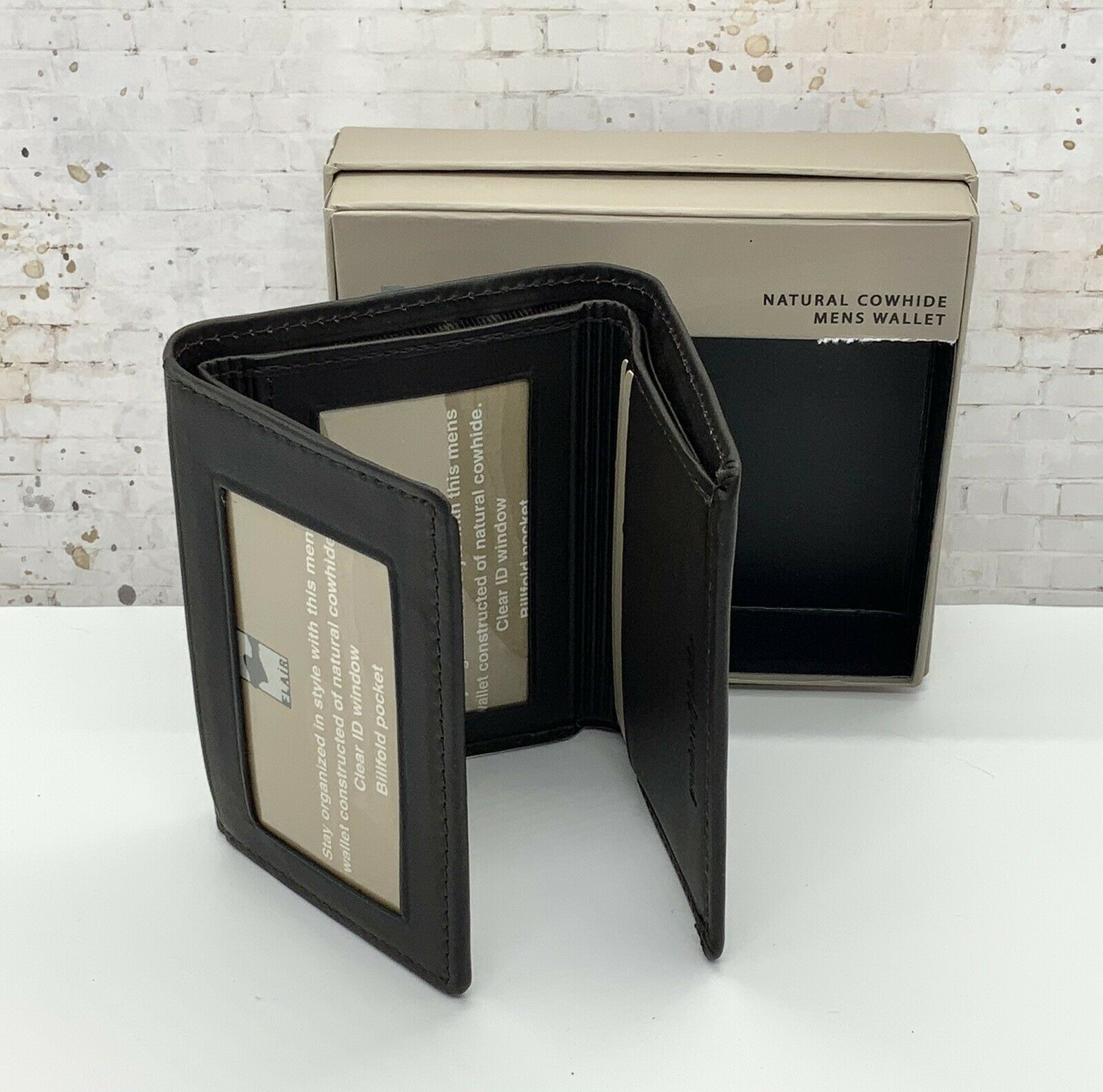 Natural Cowhide Mens Trifold Wallet Brown Calf Leather
