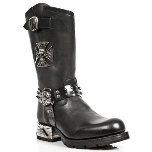 Strap Biker Rock M mr030 Black Metalic pelle s1 Goth in Skull New Stivali wIOq4TT