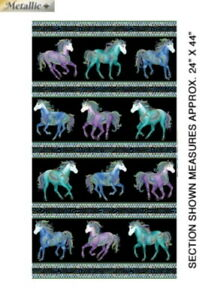 Horsen Around Horse Portraits Black//Multi Quilting Fabric by Ann Lauer