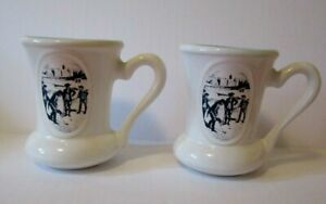 VINTAGE Pair MOUSTACHE CUP Advertising EXPORT A Golf BLUE WHITE 1970s Beauceware